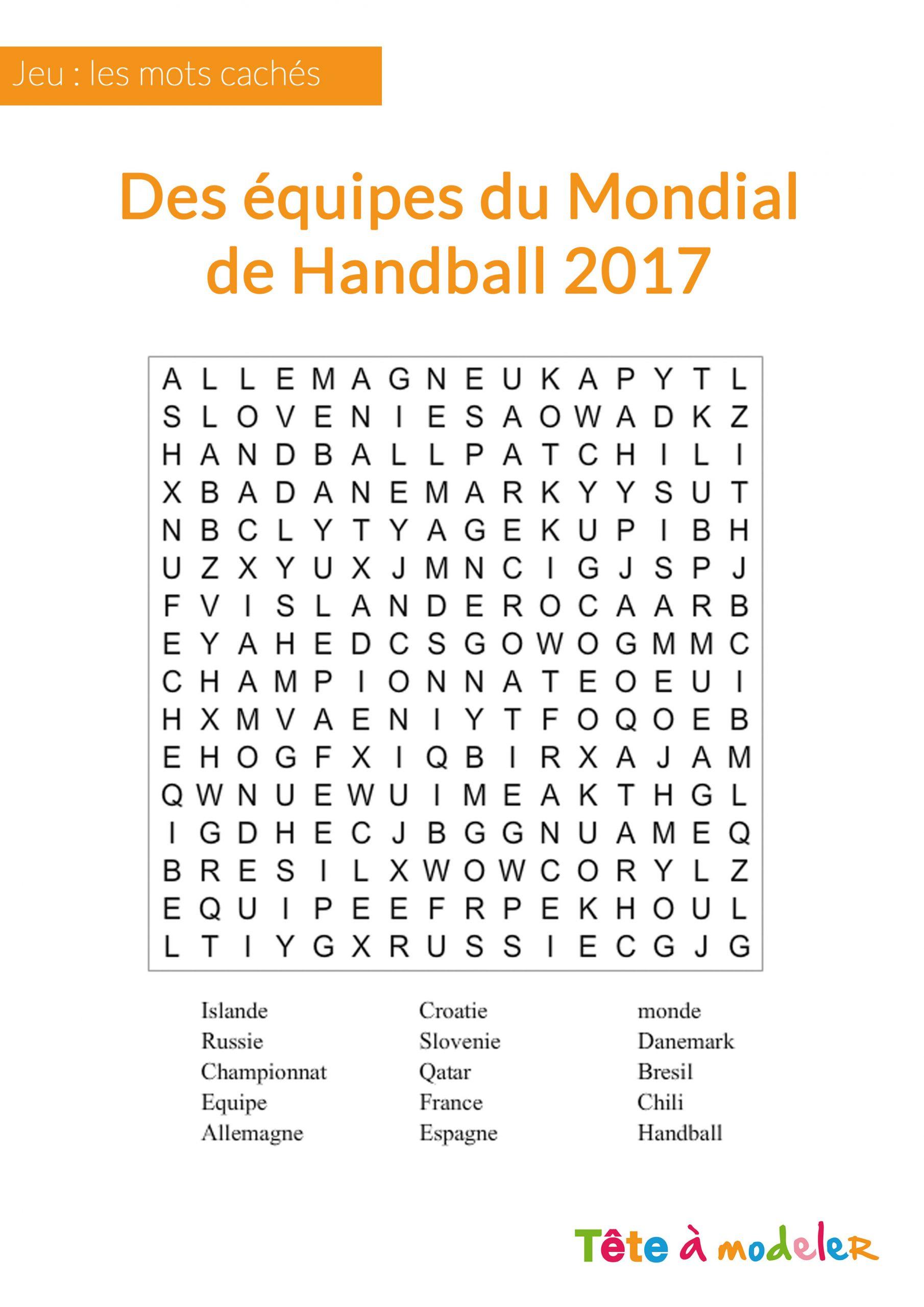 Jeu De Mots Cachés - Championnat Du Monde De Handball à Mots Fleches Enfants