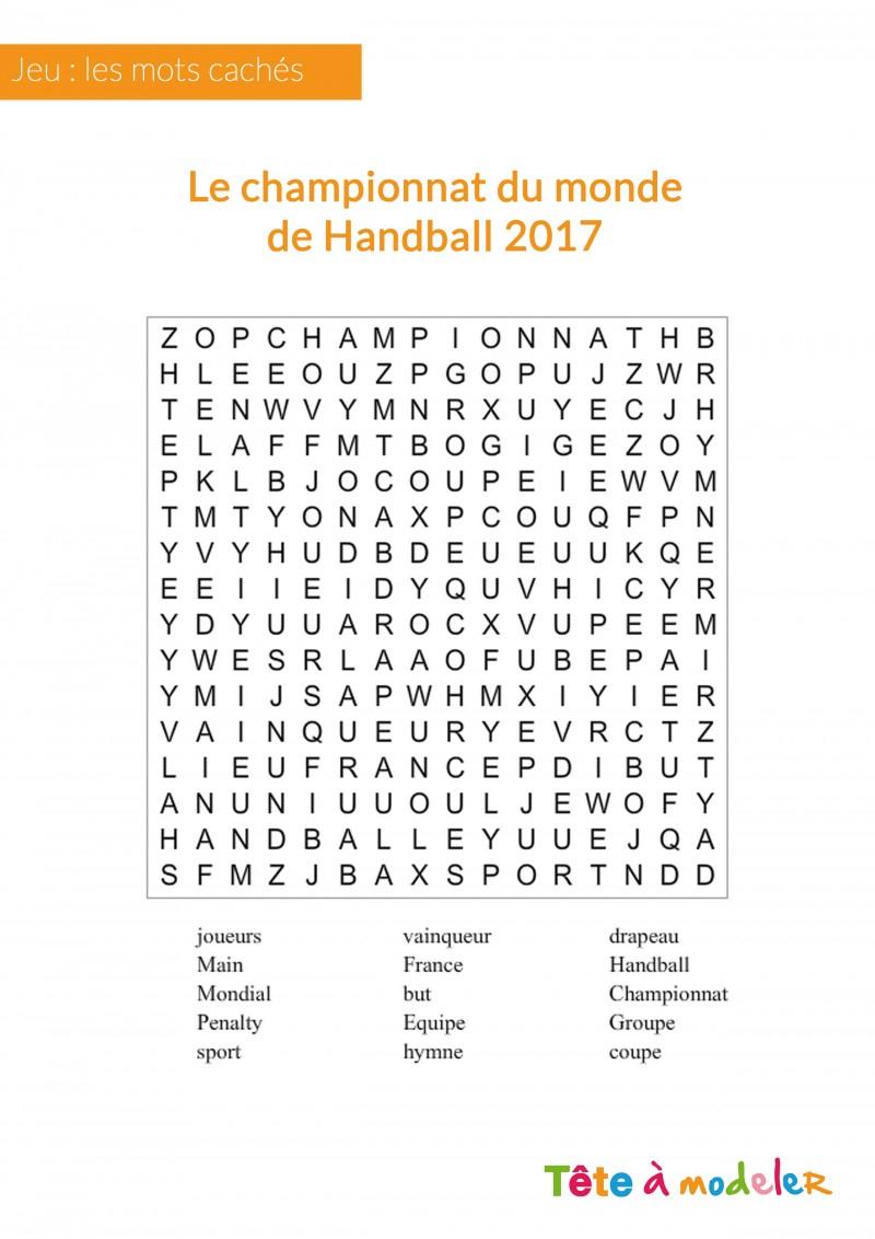 Jeu De Mots Cachés - Championnat Du Monde De Handball dedans Mots Croisés Enfants À Imprimer