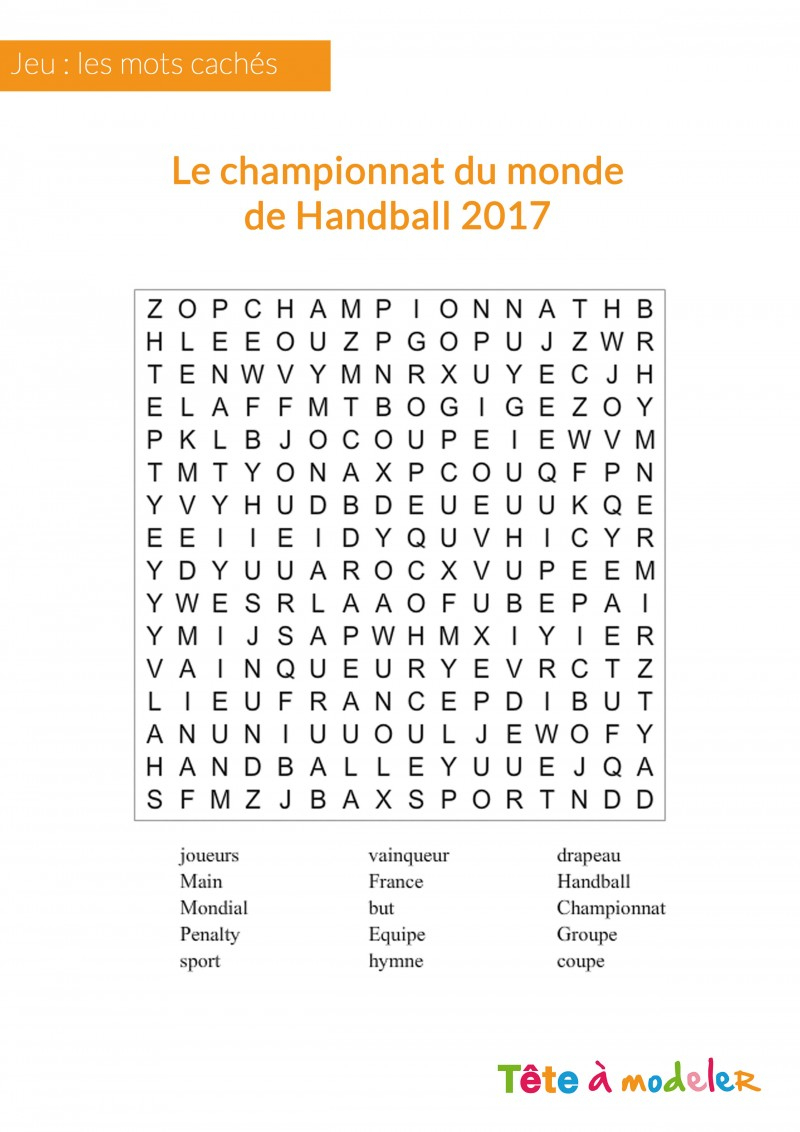 Jeu De Mots Cachés - Championnat Du Monde De Handball serapportantà Mots Fleches Enfants
