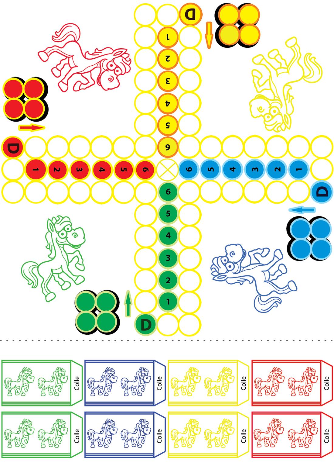 Jeu De Petits Chevaux À Imprimer - Turbulus, Jeux Pour Enfants encequiconcerne Découpage Collage A Imprimer