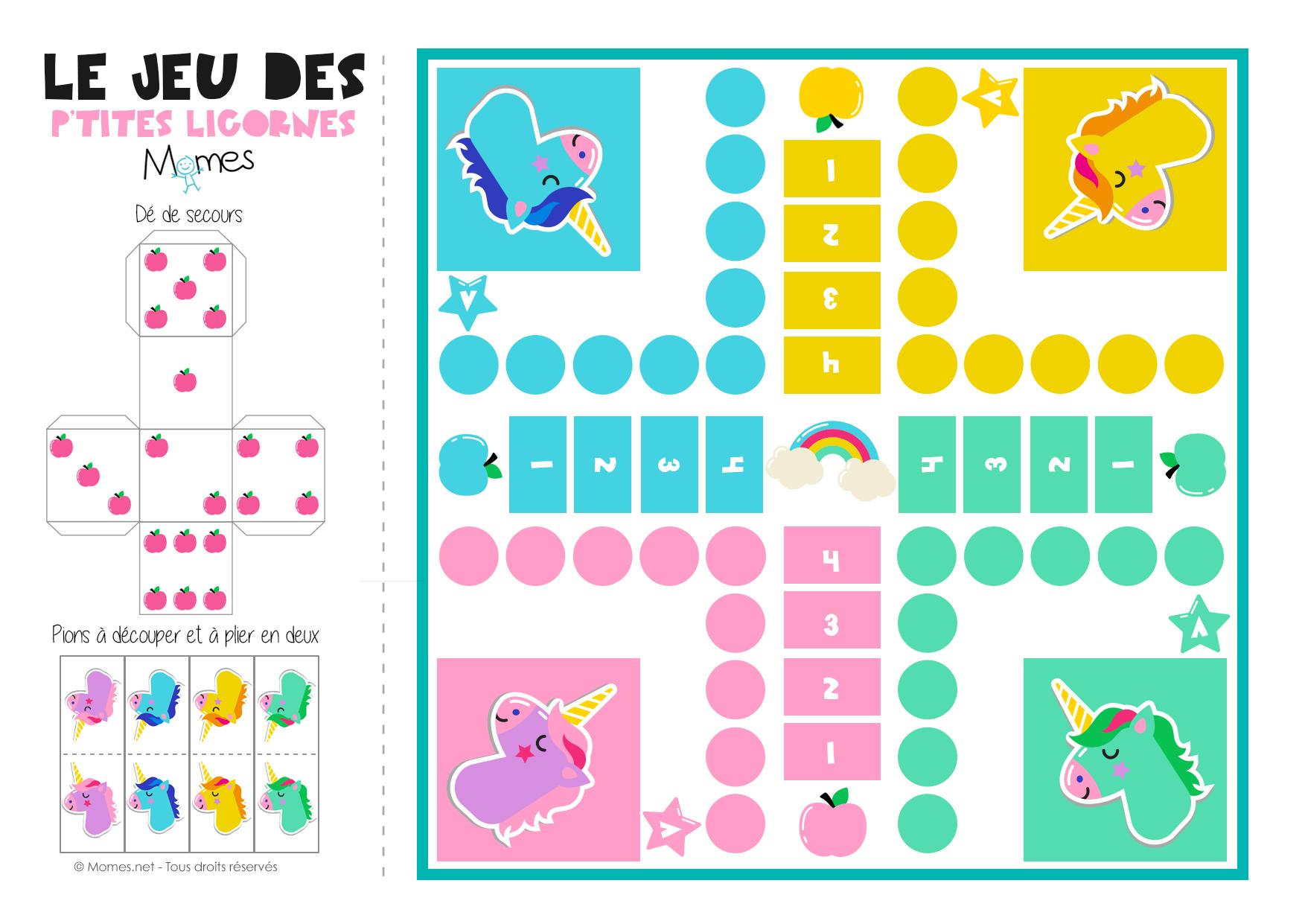 Jeu De Petits Chevaux À Imprimer Version Licornes ! - Momes destiné Petit Jeu Maternelle