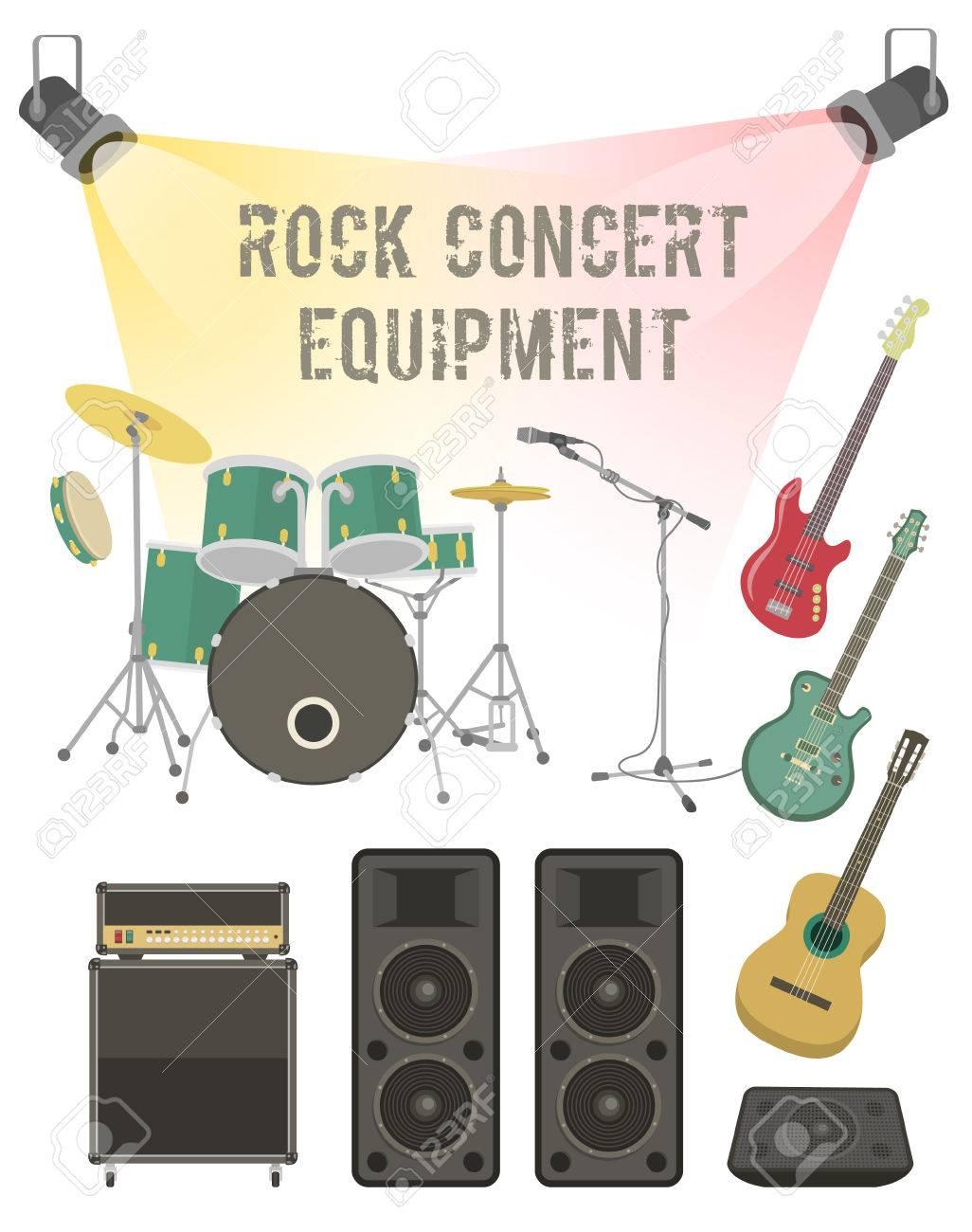 Jeu De Plate Illustration Moderne D'instruments De Musique Et De Matériel  De Sonorisation Pour Un Concert De Rock, Festival, Club Parti encequiconcerne Jeu D Instruments