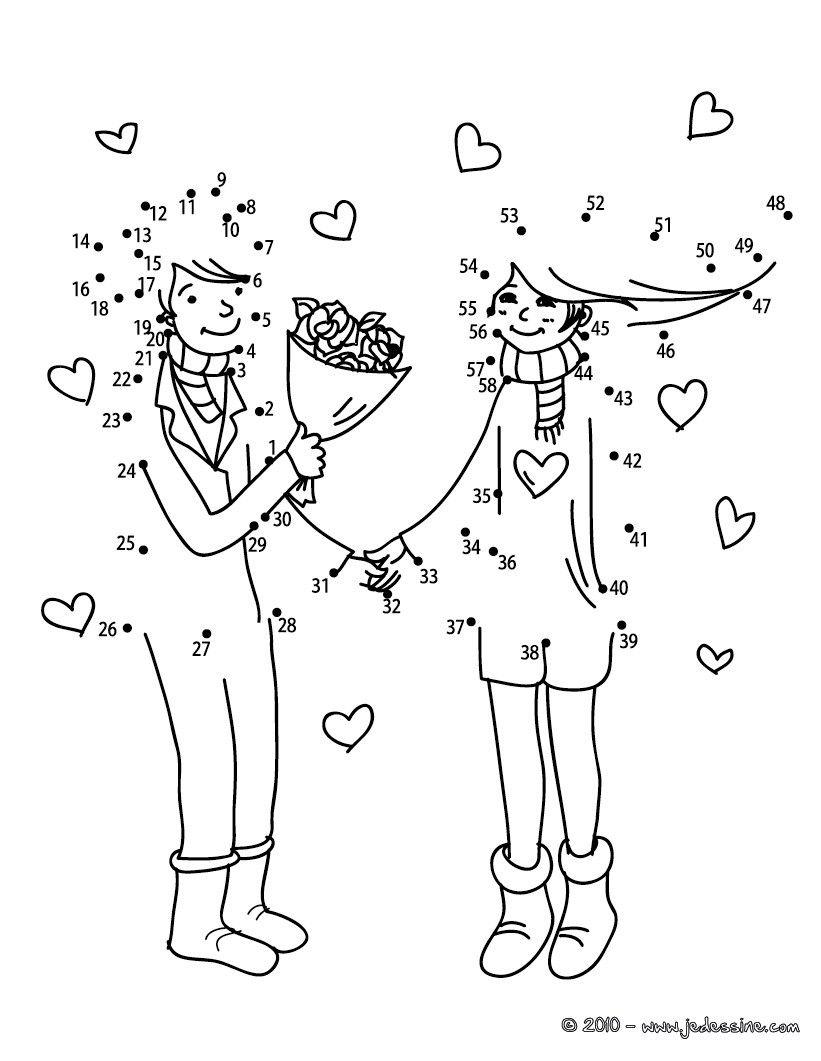 Jeu De Points À Relier : Couple Bouquet Points À Relier pour Jeux Relier Les Points