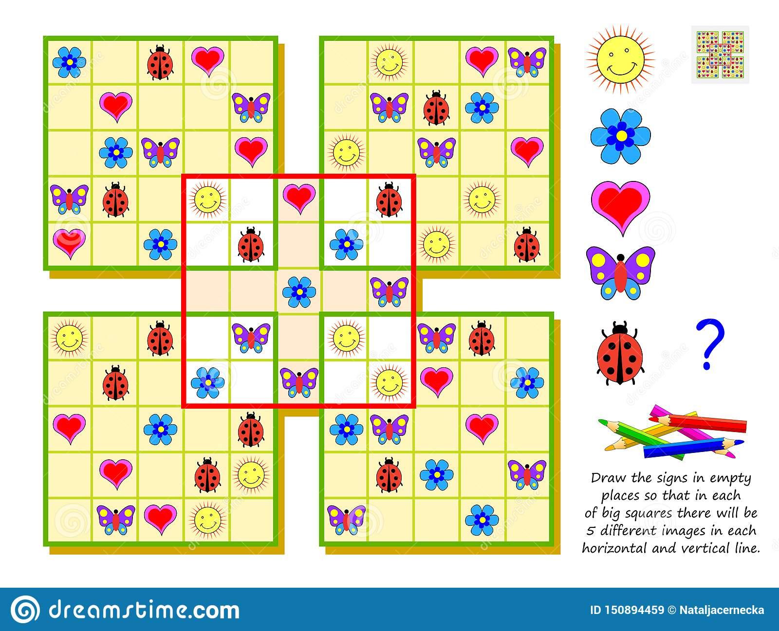 Jeu De Puzzle De Sudoku De Logique Pour Des Enfants L destiné Jeu Logique Enfant