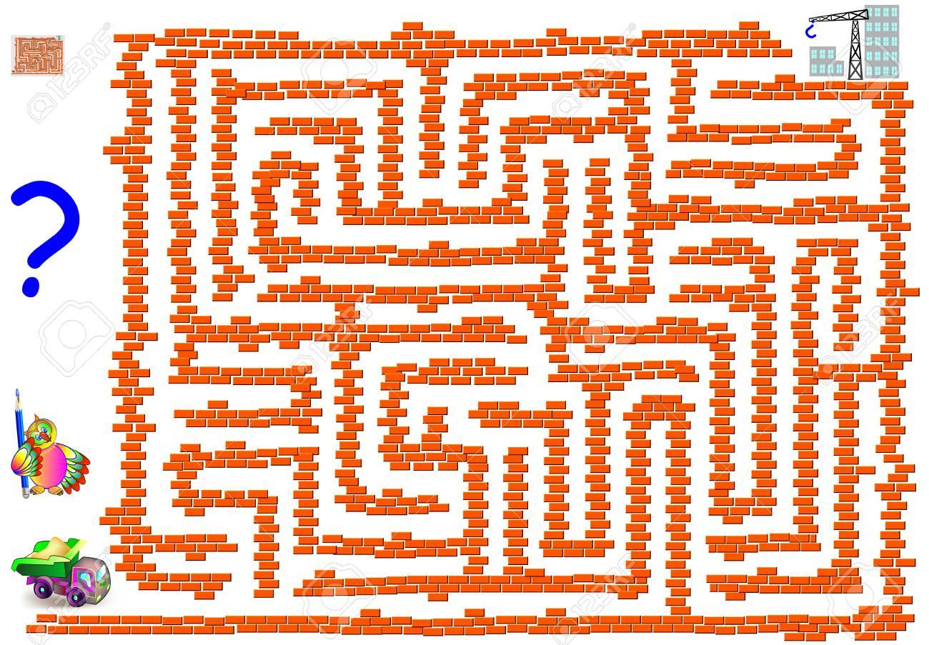 Jeu De Puzzle Logique Avec Labyrinthe Pour Enfants Et Adultes. Aidez Le  Camion À Atteindre La Construction Du Bâtiment. Image Vectorielle à Jeu Logique Enfant