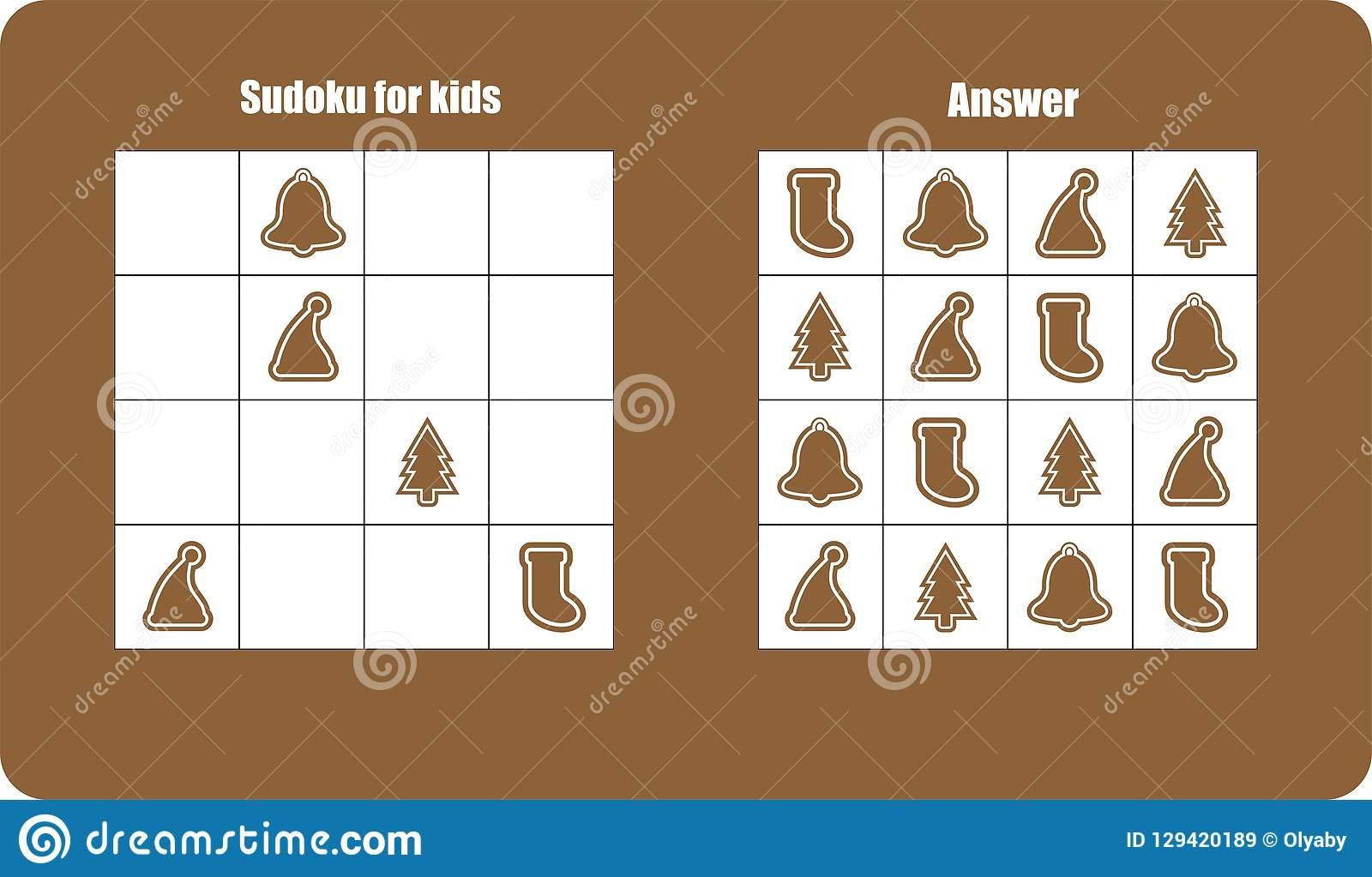 Jeu De Sudoku Avec Le Pain D'épice D'images De Noël Pour Des dedans Jeu Le Sudoku