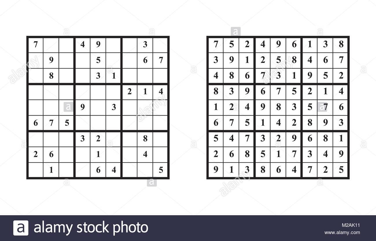 Jeu De Sudoku Avec Réponse. Jeu De Puzzle Avec Des Numéros destiné Jeu Le Sudoku