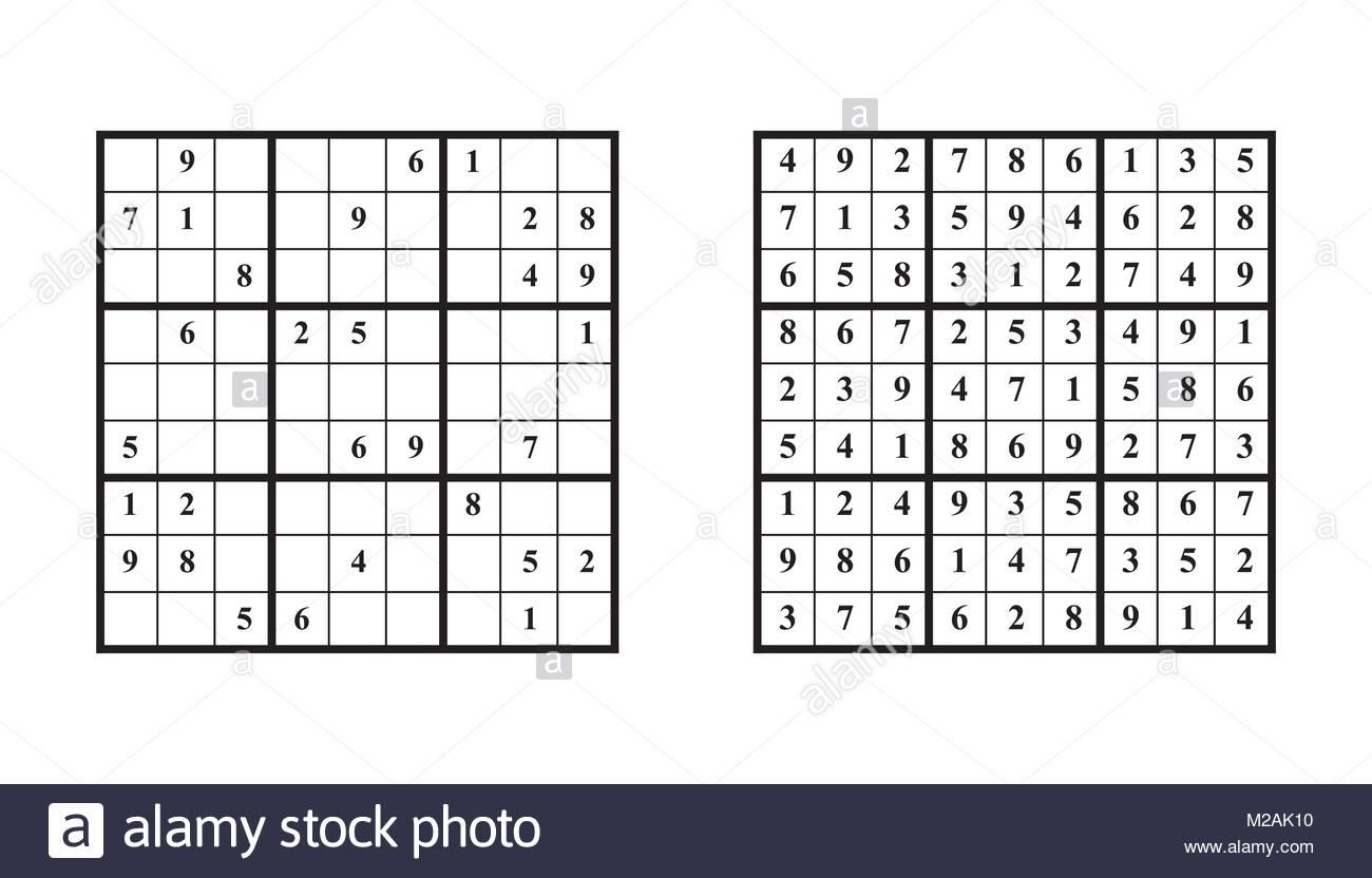 Jeu De Sudoku Avec Réponse. Jeu De Puzzle Avec Des Numéros intérieur Jeu Le Sudoku