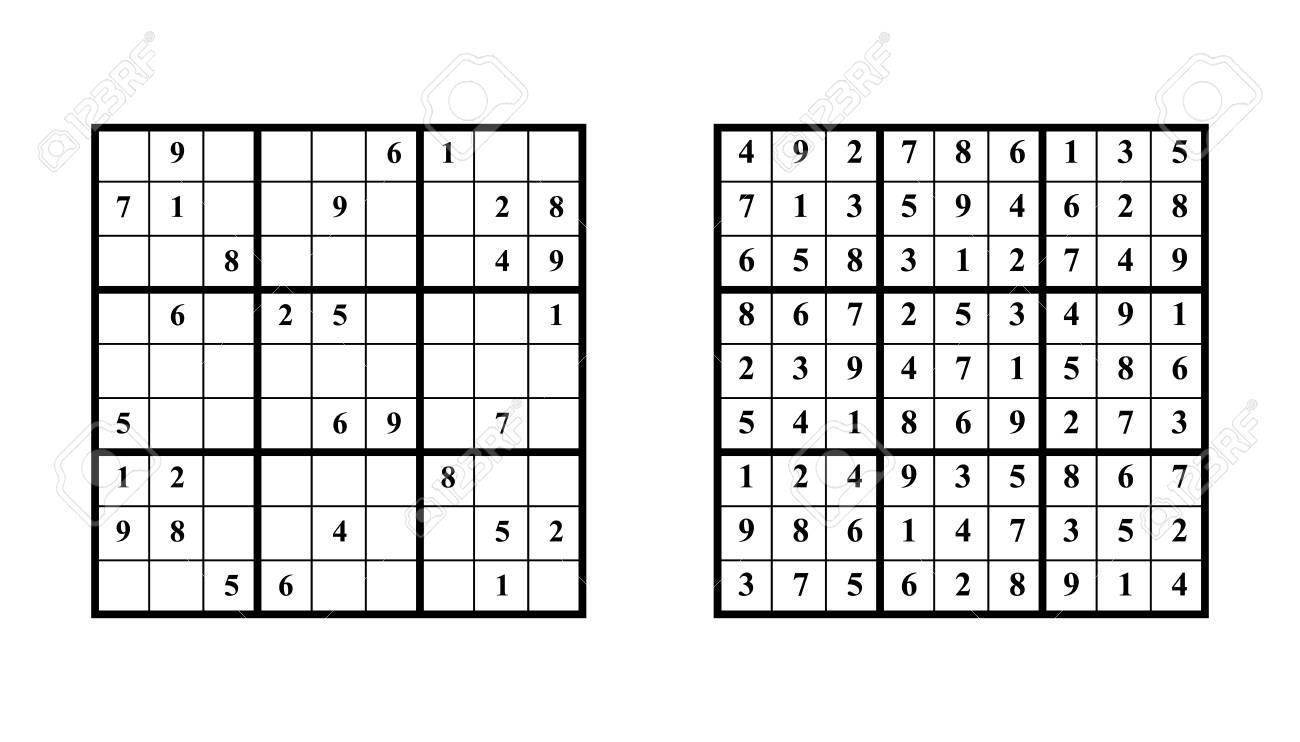 Jeu De Sudoku Avec Réponse. Jeu De Puzzle De Vecteur Avec Des Nombres Pour  Les Enfants Et Les Adultes. Illustration Sur Fond Blanc pour Sudoku Pour Enfant