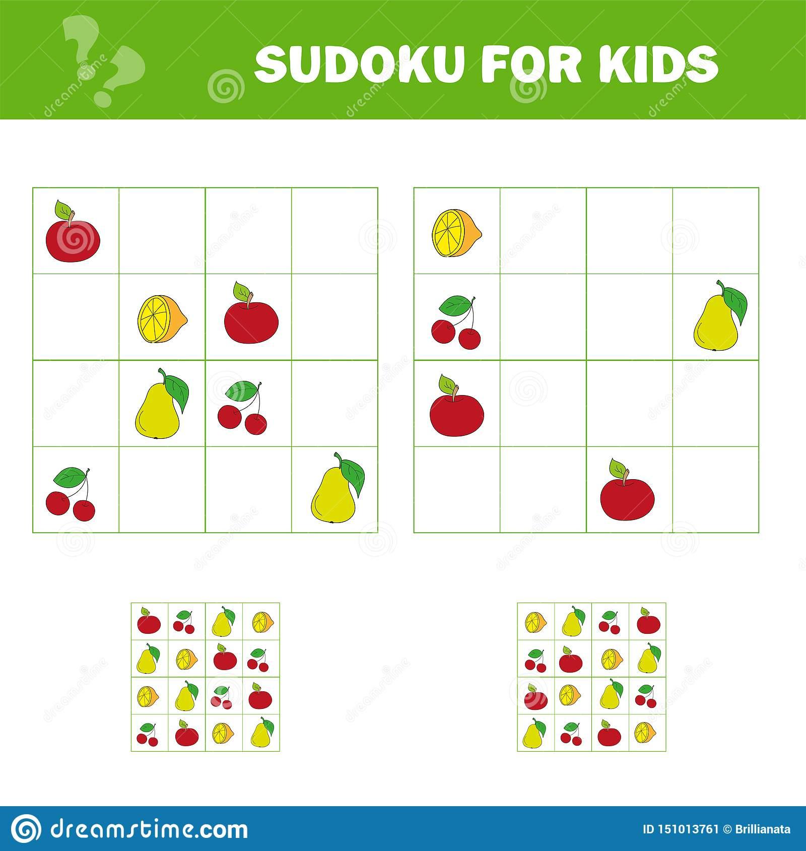 Jeu De Sudoku Pour Des Enfants Avec Des Photos Badine La encequiconcerne Sudoku Pour Enfant