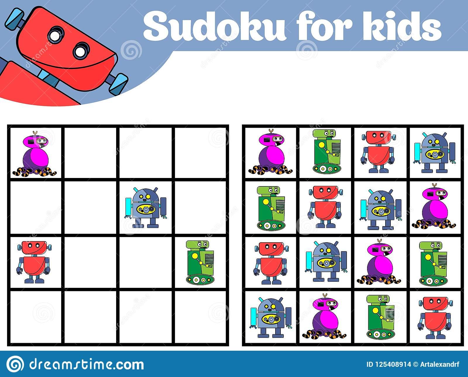 Jeu De Sudoku Pour Des Enfants Avec Des Photos Jeu De à Jeux De Logique Enfant