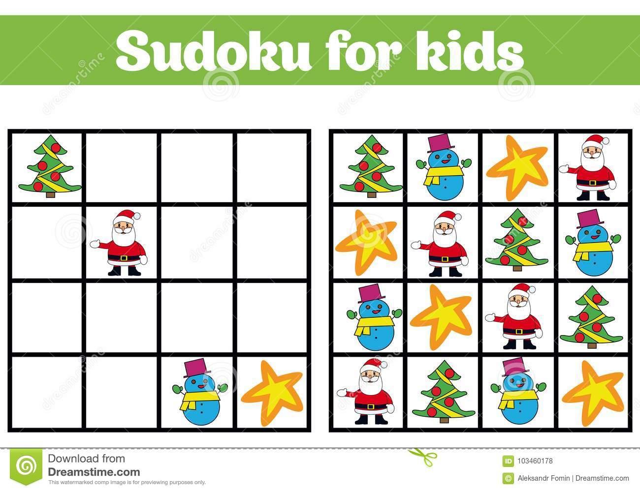 Jeu De Sudoku Pour Des Enfants Avec Des Photos Jeu De avec Jeu Logique Enfant