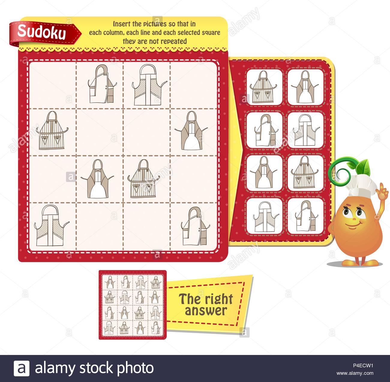 Jeu De Sudoku Pour Enfants Et Adultes Avec Photos Tabliers intérieur Sudoku Pour Enfant
