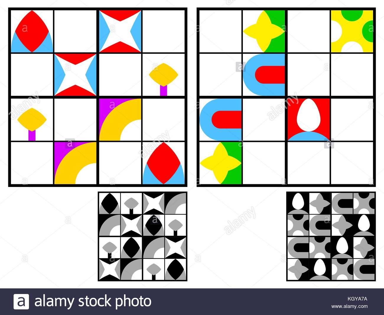 Jeu De Sudoku Pour Les Enfants Avec Des Images Géométriques encequiconcerne Jeu Le Sudoku