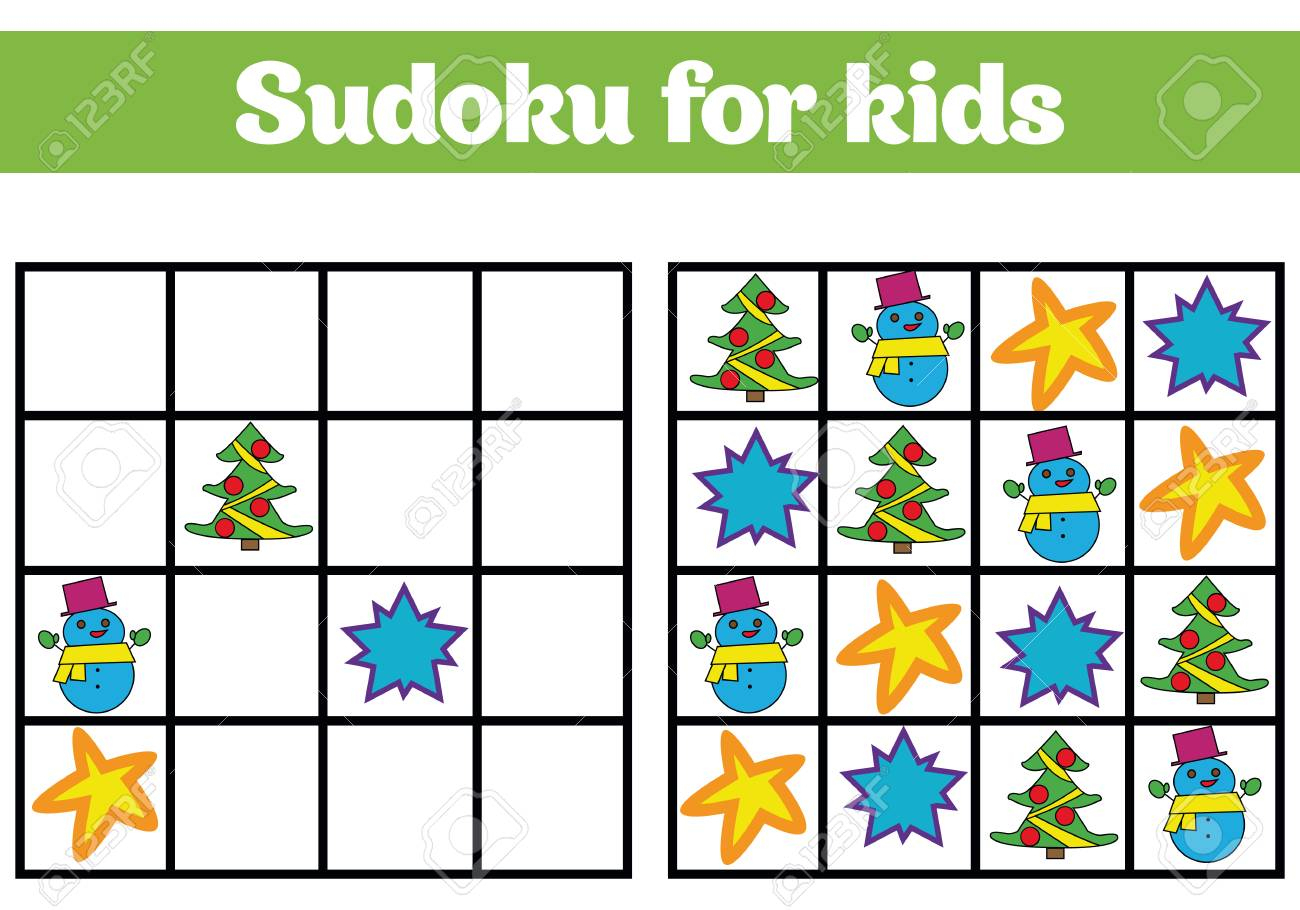 Jeu De Sudoku Pour Les Enfants Avec Des Images. Jeu De Logique Pour Les  Enfants D'âge Préscolaire. Rébus Pour Les Enfants. Illustration Vectorielle  De concernant Sudoku Pour Enfant