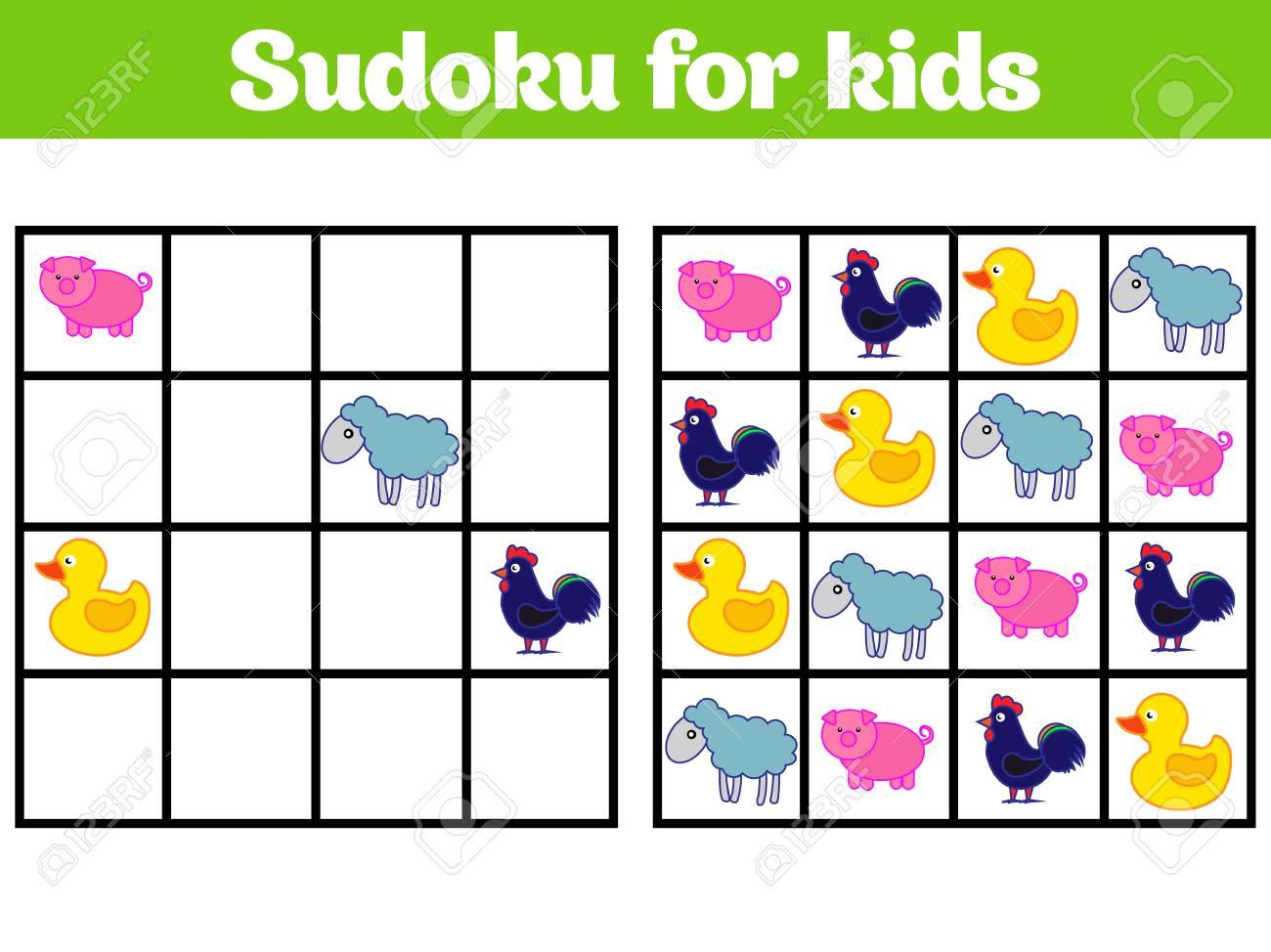 Jeu De Sudoku Pour Les Enfants Avec Des Images. Jeu De Logique Pour Les  Enfants D'âge Préscolaire. Rébus Pour Les Enfants. Illustration Vectorielle  De intérieur Sudoku Pour Enfant