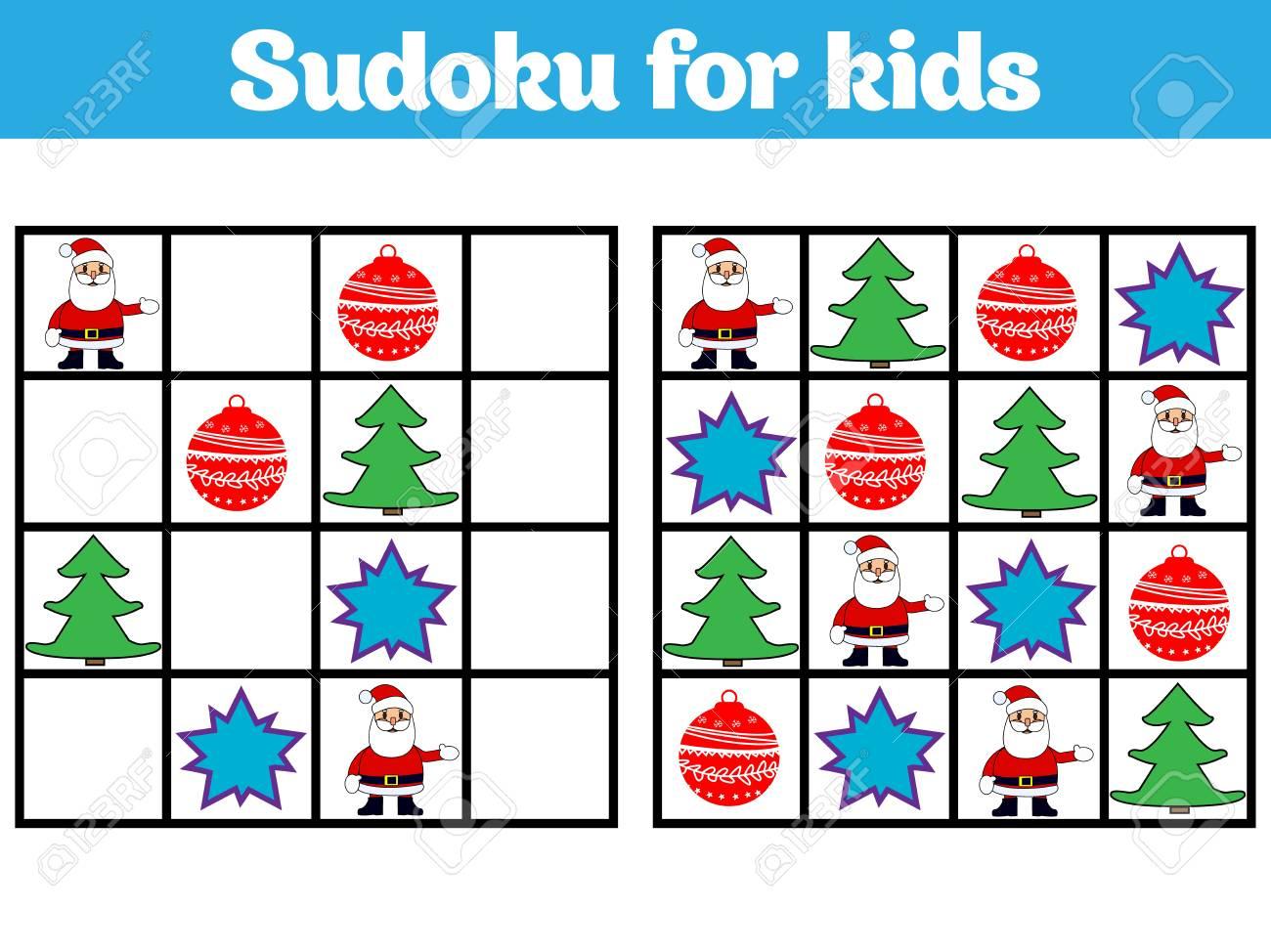 Jeu De Sudoku Pour Les Enfants Avec Des Images. Jeu De Logique Pour Les  Enfants D'âge Préscolaire. Rébus Pour Les Enfants. Illustration Vectorielle  De serapportantà Jeu Logique Enfant