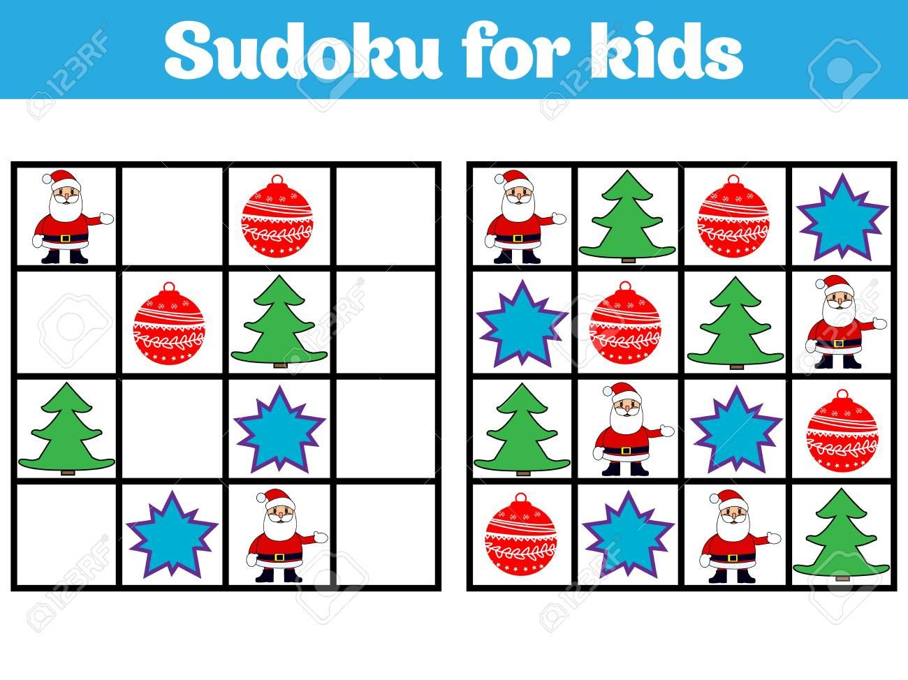 Jeu De Sudoku Pour Les Enfants Avec Des Images. Jeu De Logique Pour Les  Enfants D'âge Préscolaire. Rébus Pour Les Enfants. Illustration Vectorielle  De tout Sudoku Pour Enfant