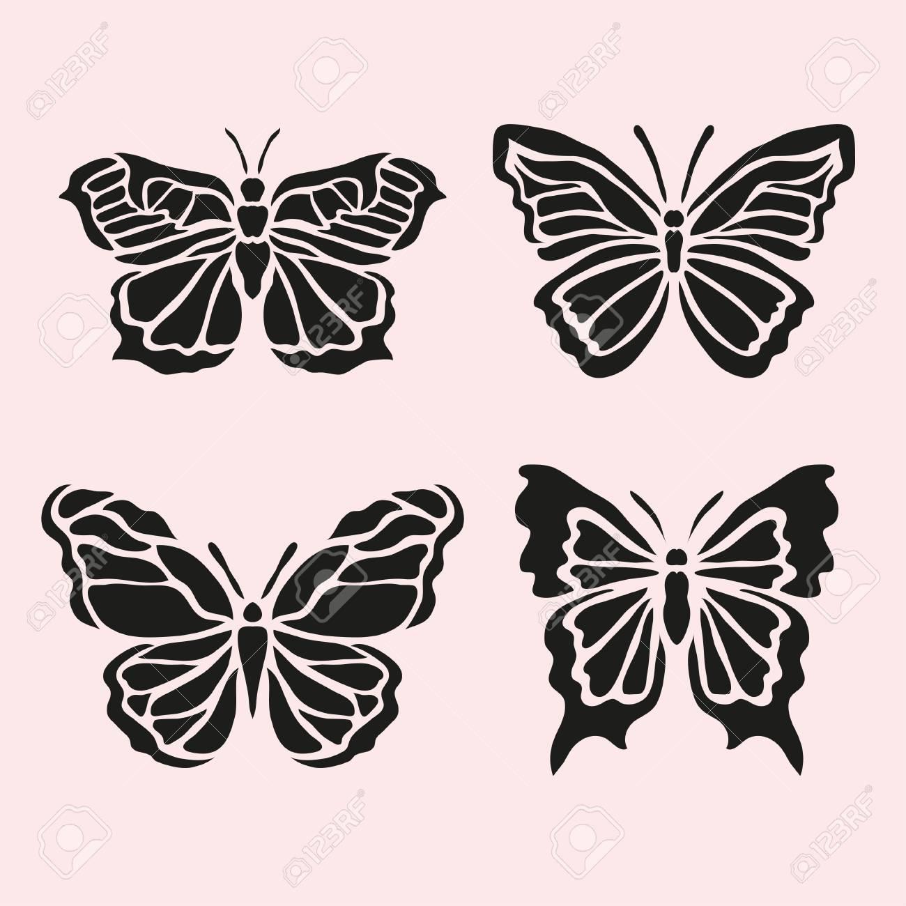Jeu De Symboles Abstraits Papillon, Éléments De Conception. Peut Être  Utilisé Pour Des Invitations, Cartes De V?ux, Scrapbooking, Impression, pour Etiquette Papillon A Imprimer
