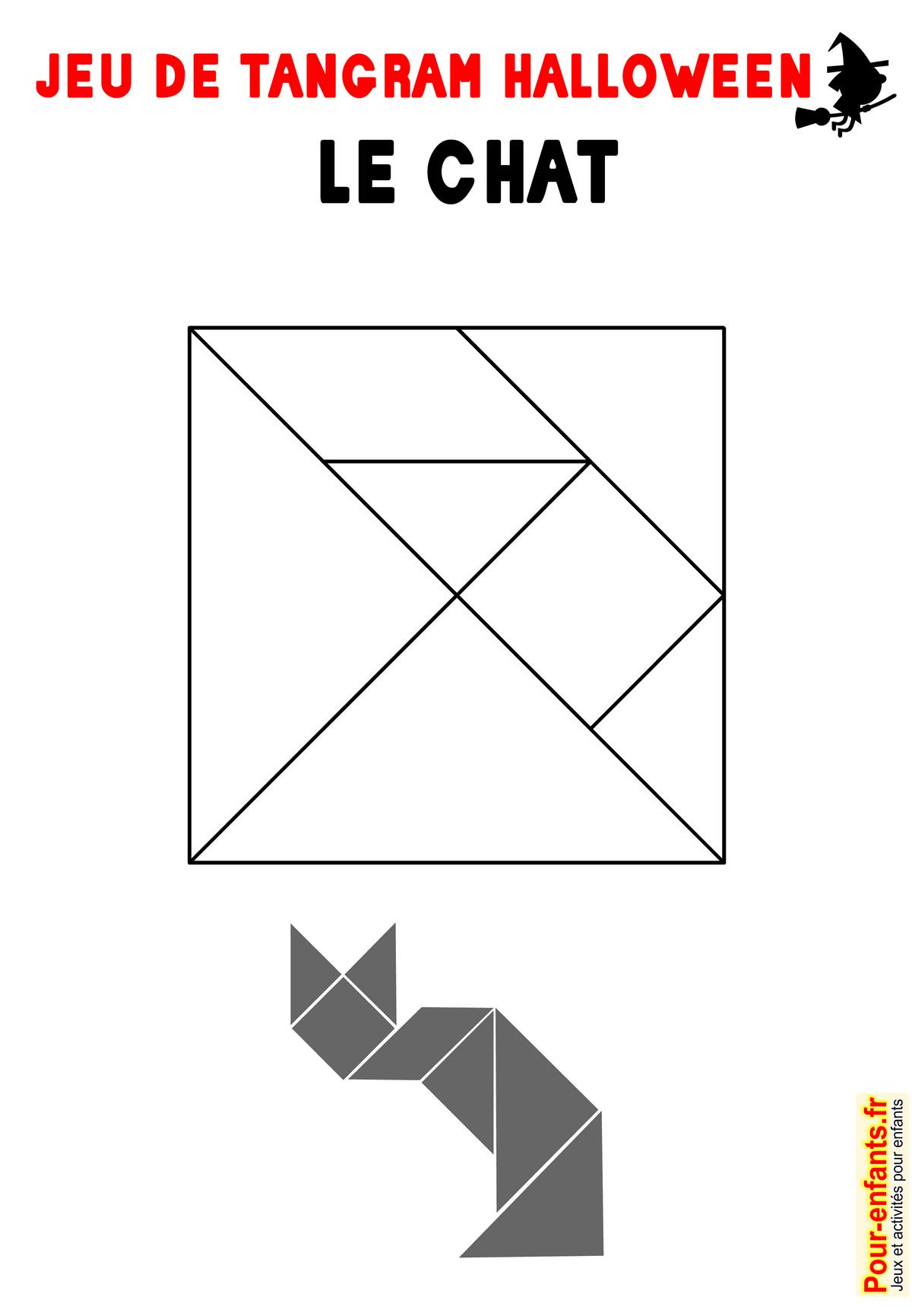 Jeu De Tangram À Imprimer Chat Halloween Imprimable Gratuit à Tangram Chat