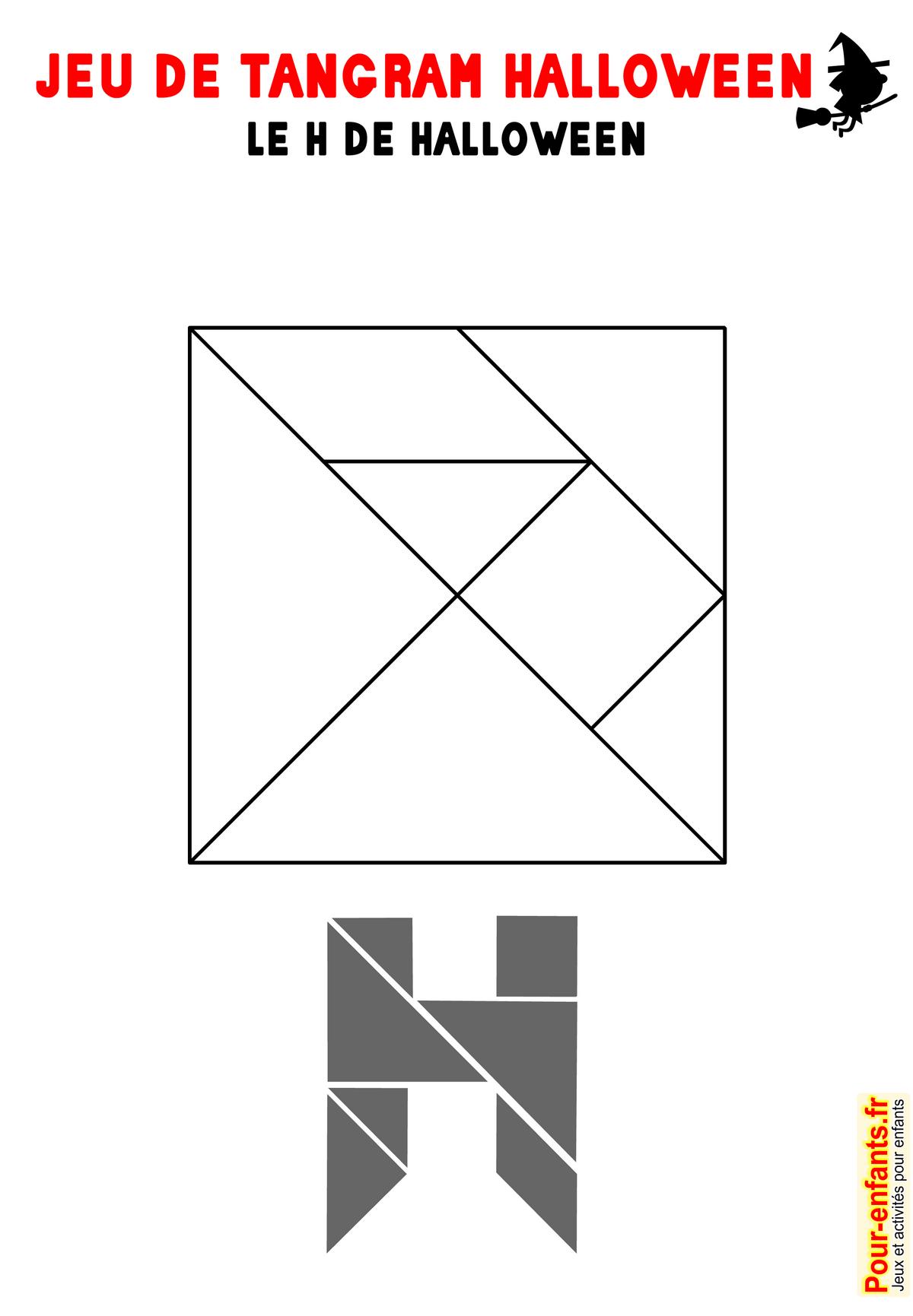 Jeu De Tangram À Imprimer Lettre H Halloween Imprimable tout Jeux De Tangram Gratuit