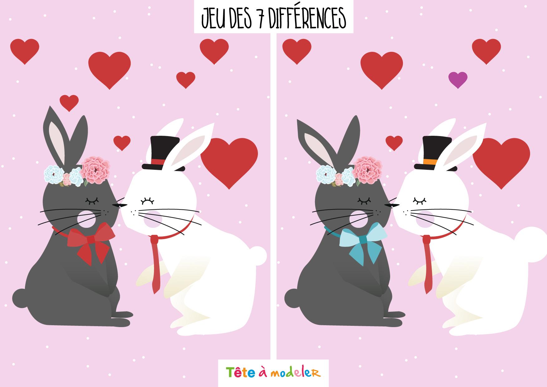 Jeu Des 7 Différences De La Saint Valentin intérieur Jeux De La Différence