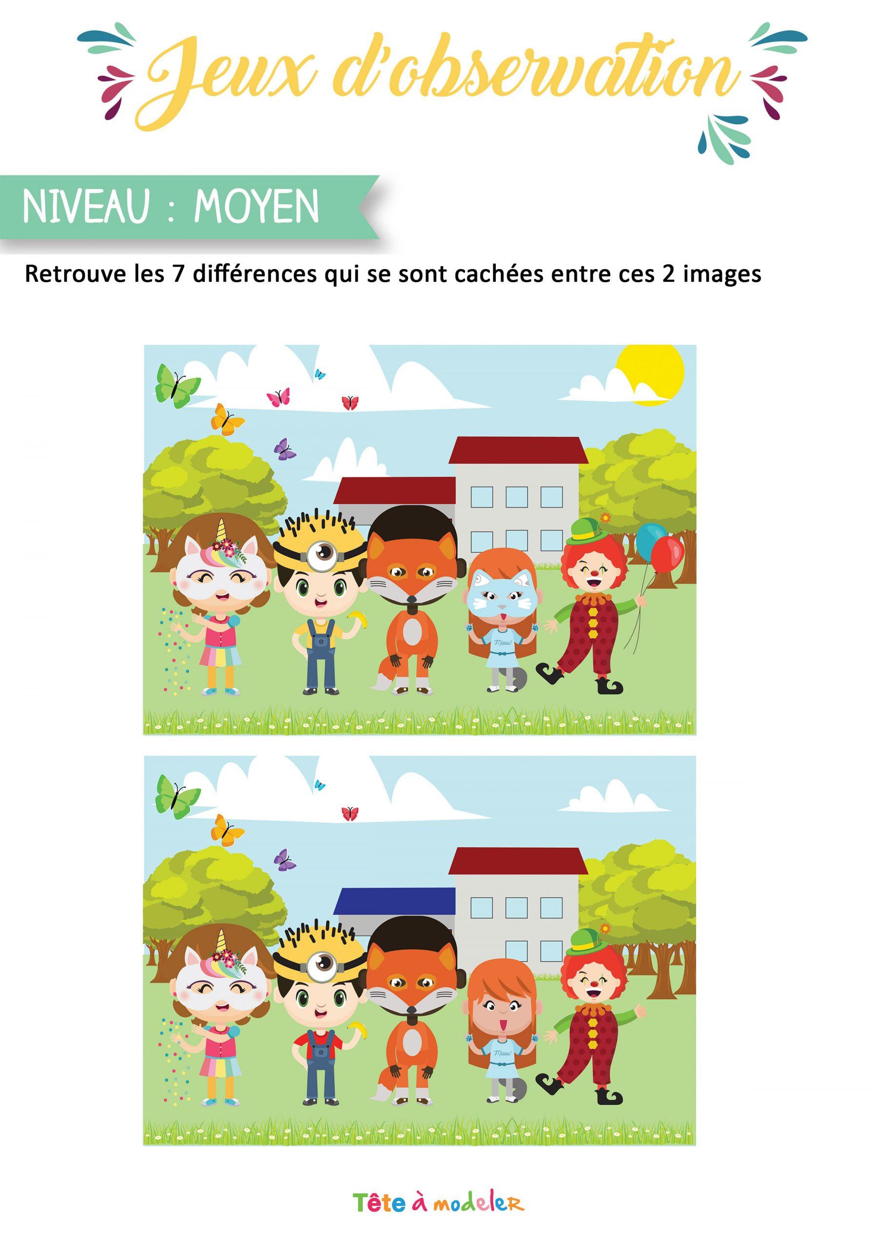 Jeu Des 7 Différences Du Carnaval à Jeu Des 7 Différences À Imprimer
