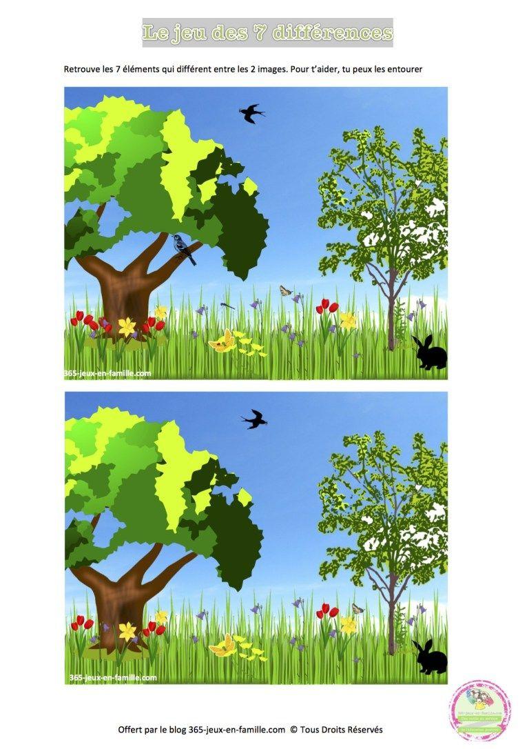 Jeu Des 7 Différences Du Printemps, Jeu Gratuit À Imprimer concernant Jeux Des Differences Gratuit A Imprimer