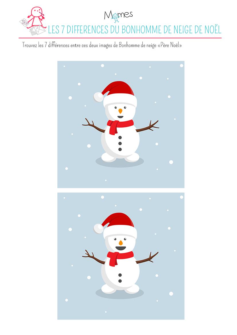"""Jeu Des 7 Différences : Le Bonhomme De Neige """"père Noël à Jeu Des 7 Différences À Imprimer"""