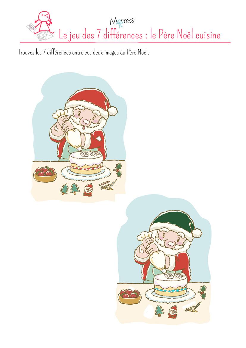 Jeu Des 7 Différences : Le Père Noël - Momes à Jeu Des 7 Différences À Imprimer