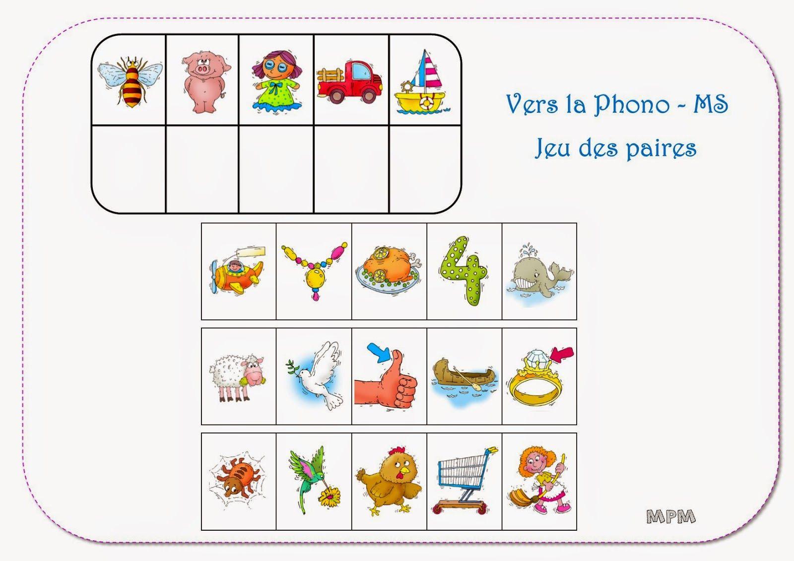 Jeu Des Paires - Vers La Phono Ms Et Autres Jeux Ms destiné Jeux Maternelle Moyenne Section