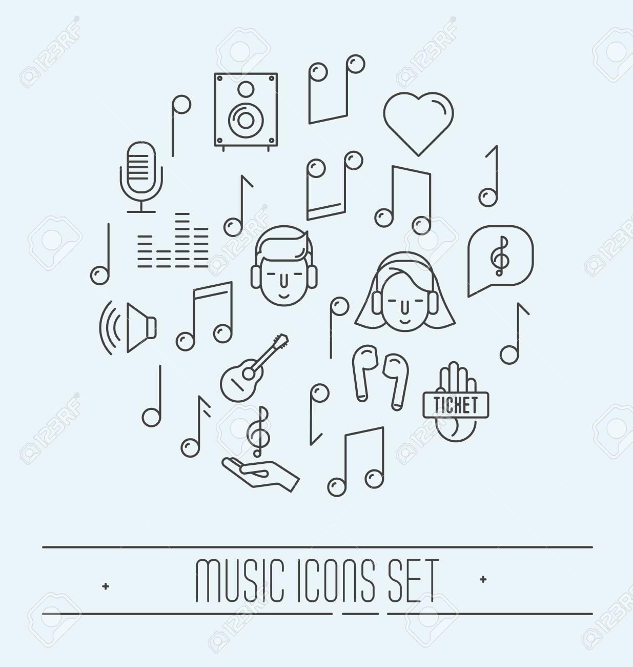 Jeu D'icônes De Fine Ligne Festival De Musique. Illustration Vectorielle encequiconcerne Jeux De Musique En Ligne