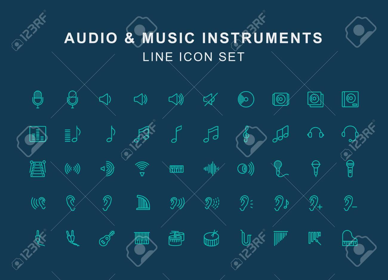Jeu D'icônes De Ligne De Musique Audio Et Instrument dedans Jeux De Musique En Ligne