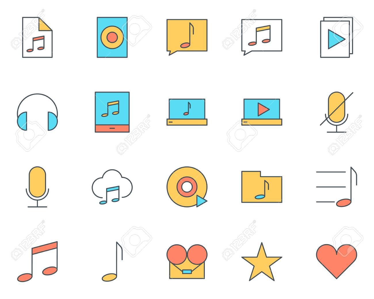 Jeu D'icônes Musique Fine Ligne Audio serapportantà Jeux De Musique En Ligne