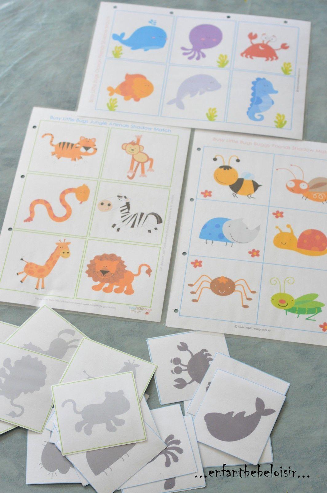 Jeu D'ombres À Imprimer Et Plastifier | Jeux Montessori intérieur Jeux Pour Bebe De 3 Ans Gratuit