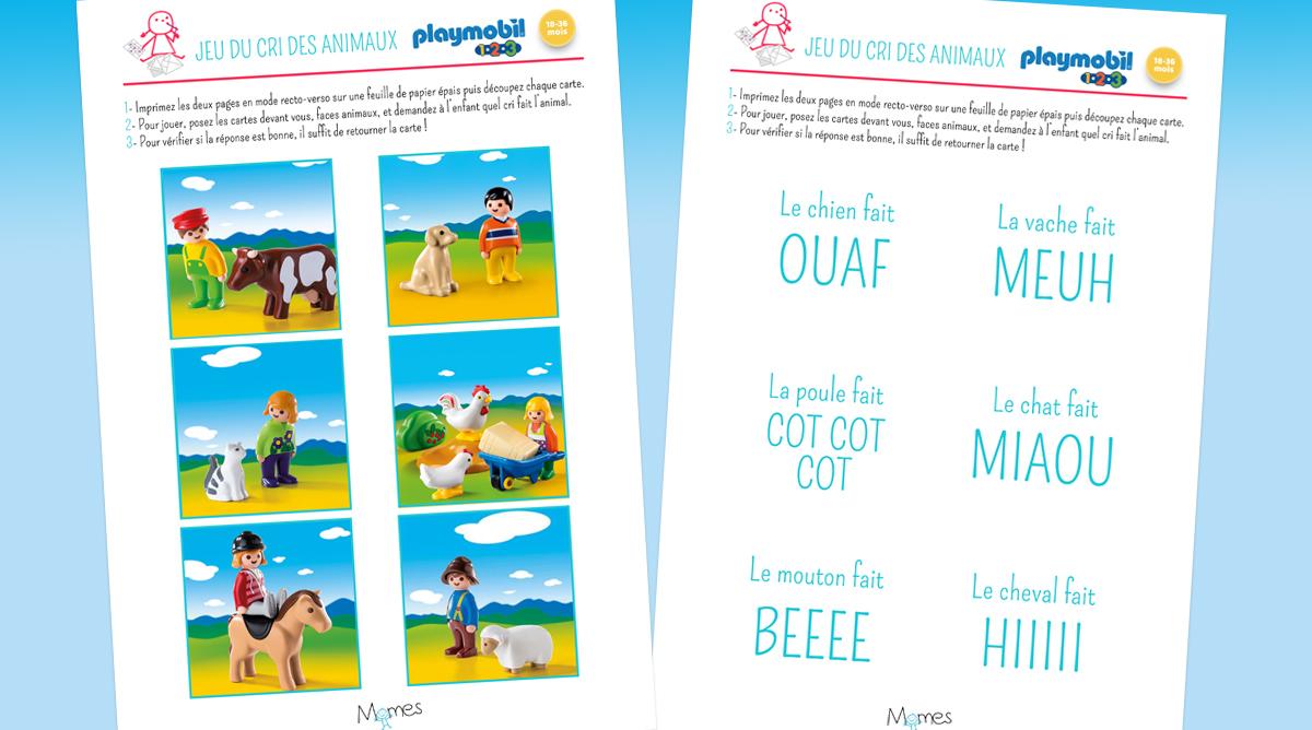Jeu Du Cri Des Animaux Playmobil 123 À Imprimer - Momes serapportantà Jeu Cri Des Animaux