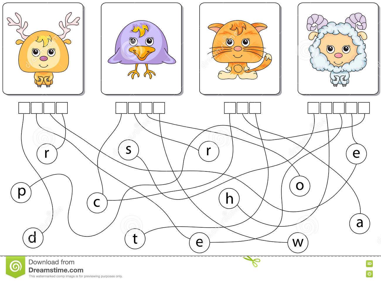 Jeu Éducatif De Puzzle Trouvez Les Mots Cachés Illustration destiné Mots Fleches Enfants