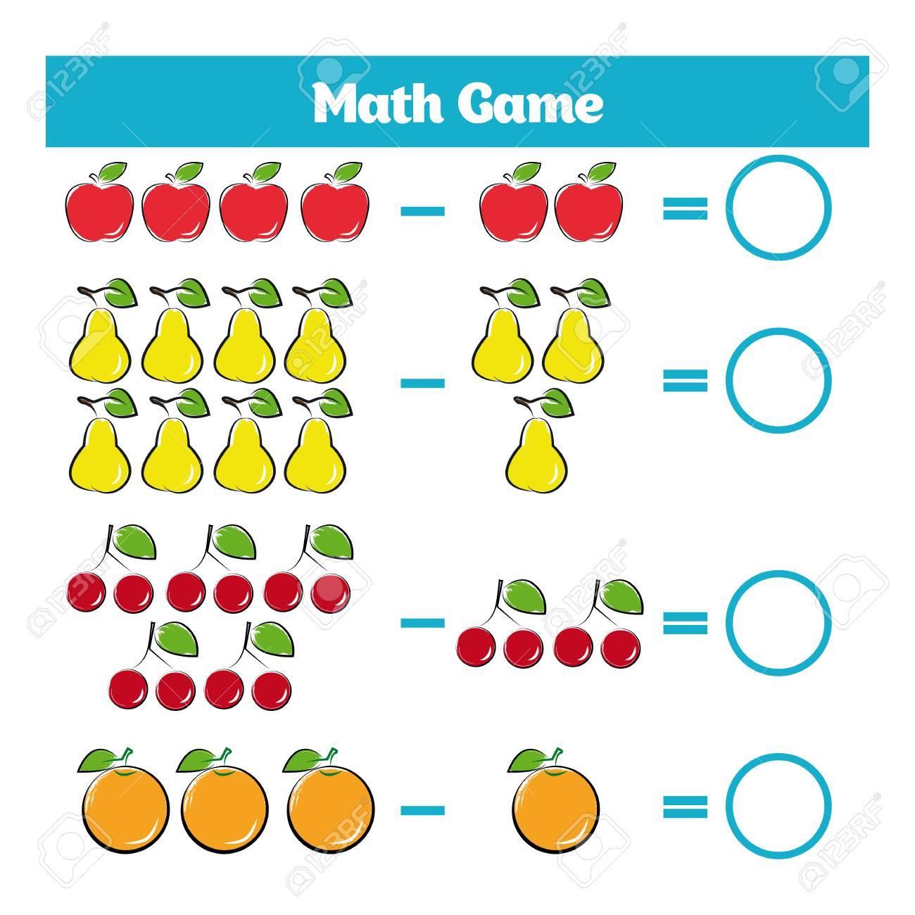 Jeu Éducatif Mathématique Pour Les Enfants. Apprentissage Soustraction  Feuille De Calcul Pour Les Enfants, En Comptant L'activité. Illustration encequiconcerne Jeux De Matematique