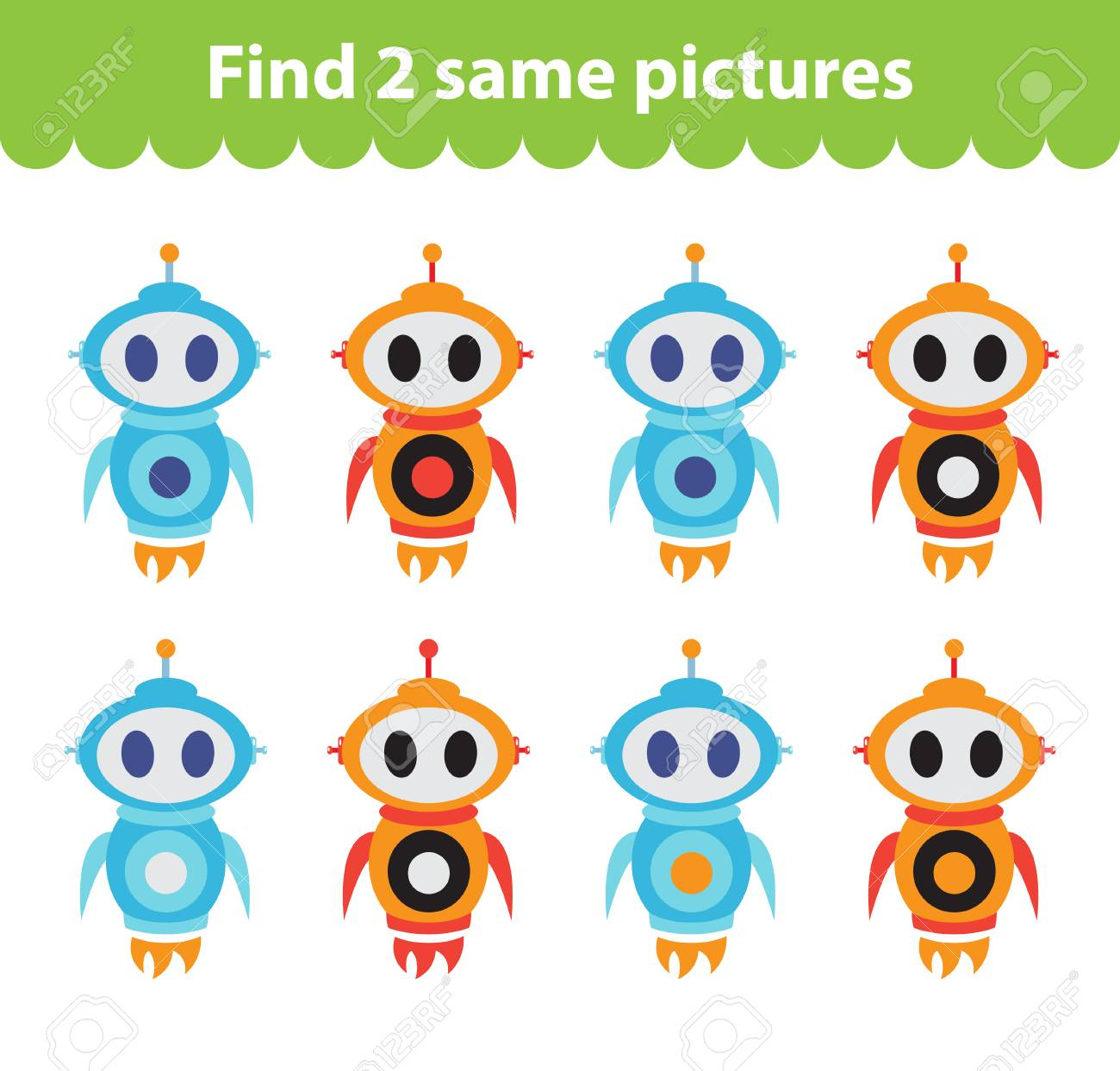 Jeu Éducatif Pour Enfants. Trouver Deux Mêmes Images. Ensemble Du Robot,  Pour Le Jeu Trouver Deux Mêmes Images. Illustration Vectorielle concernant Les Jeux Educatif
