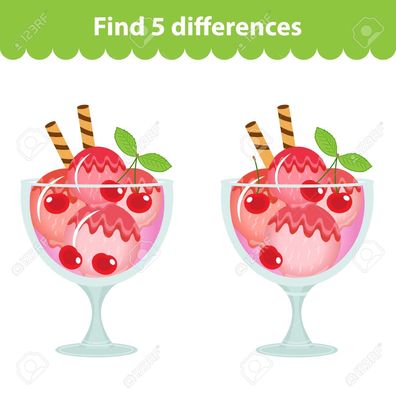 Jeu Éducatif Pour Enfants. Trouvez Les 5 Différences Dans L'image. Image De  La Crème Glacée Pour Le Jeu Trouver Les 5 Différences. Trouver Le Jeu De tout Les 5 Differences