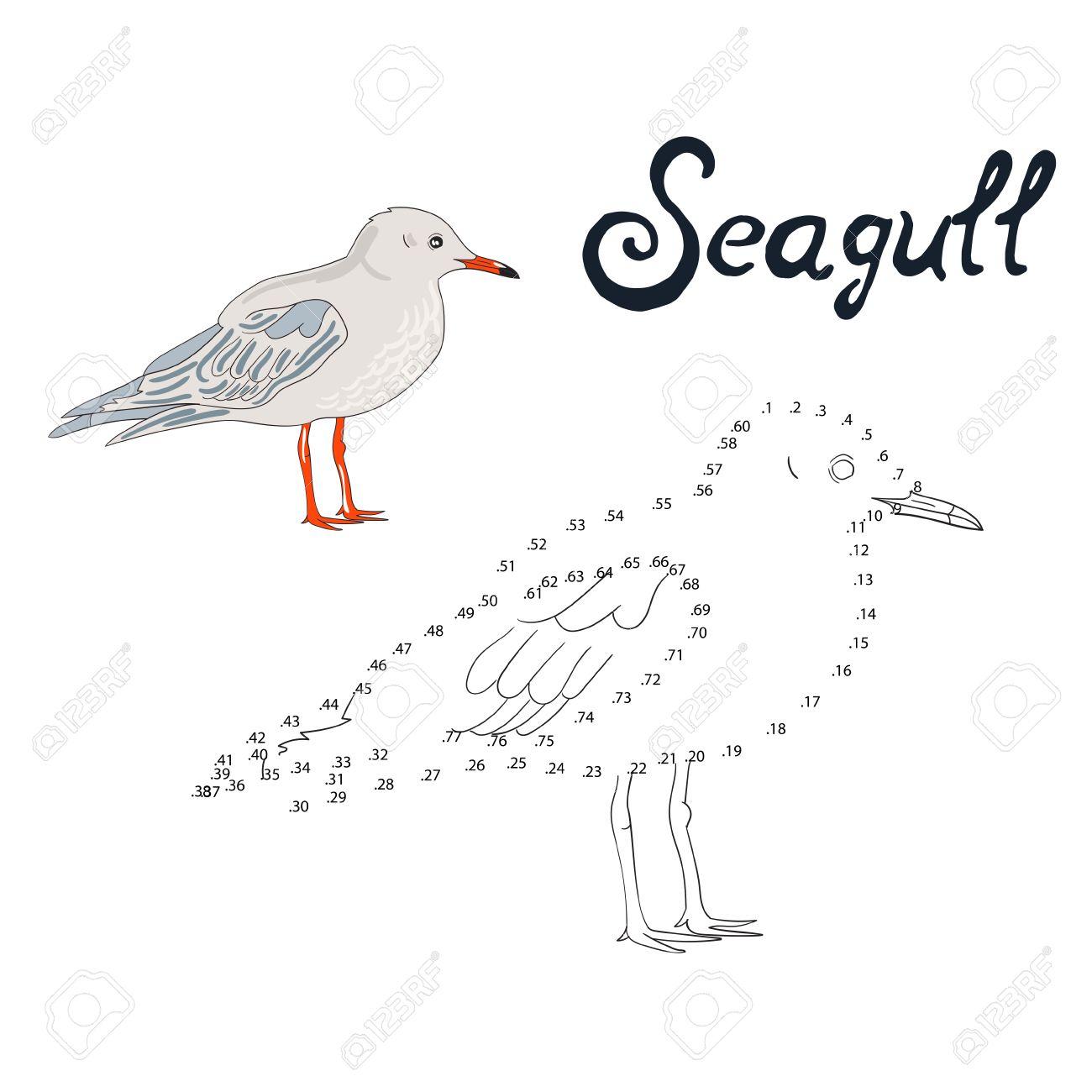 Jeu Éducatif Relier Les Points Pour Dessiner Oiseau Mouette Doodle Dessin  Animé Main Illustration Vectorielle Dessinée serapportantà Relier Les Points De 1 À 30