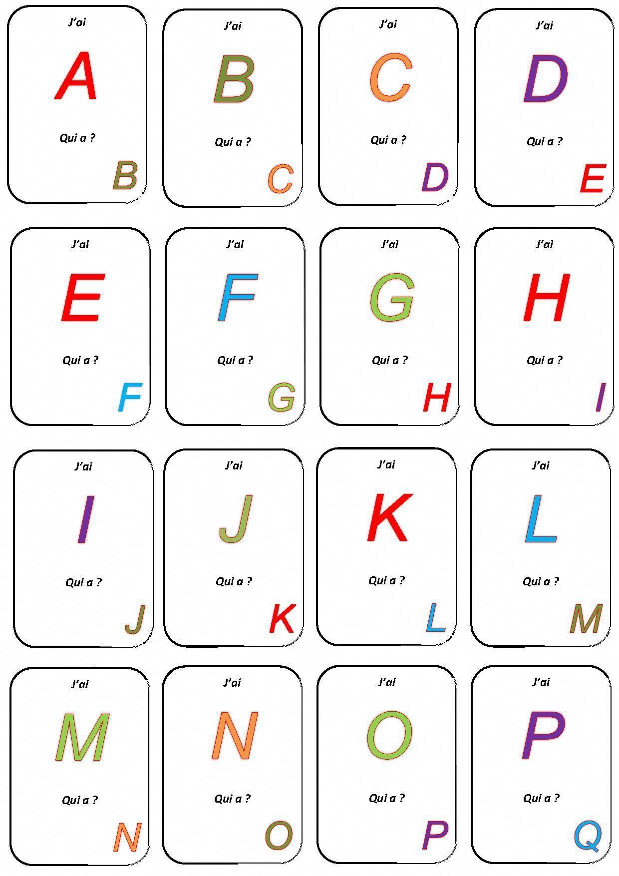 """Jeu """"j'ai Qui A?"""" - La Maternelle De Camille destiné J Apprend L Alphabet Maternelle"""