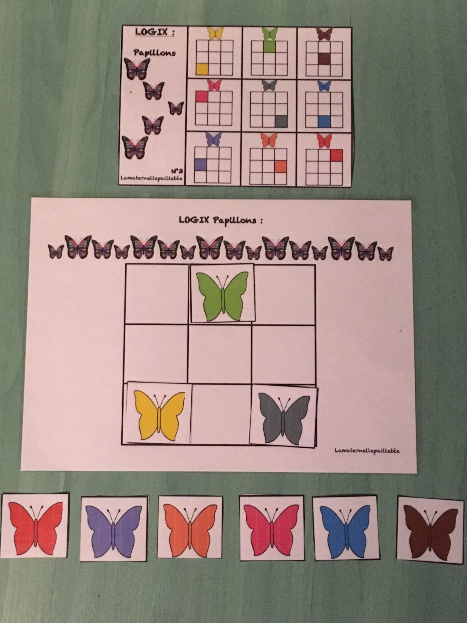 Jeu Logix Papillons Maternelle   Jeux Printemps Maternelle pour Petit Jeu Maternelle