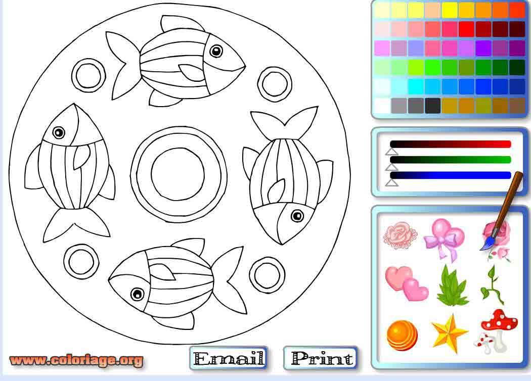 Jeu Mandala Poissons À Colorier / Jeuxgratuits concernant Jeux De Coloriage De Rosace