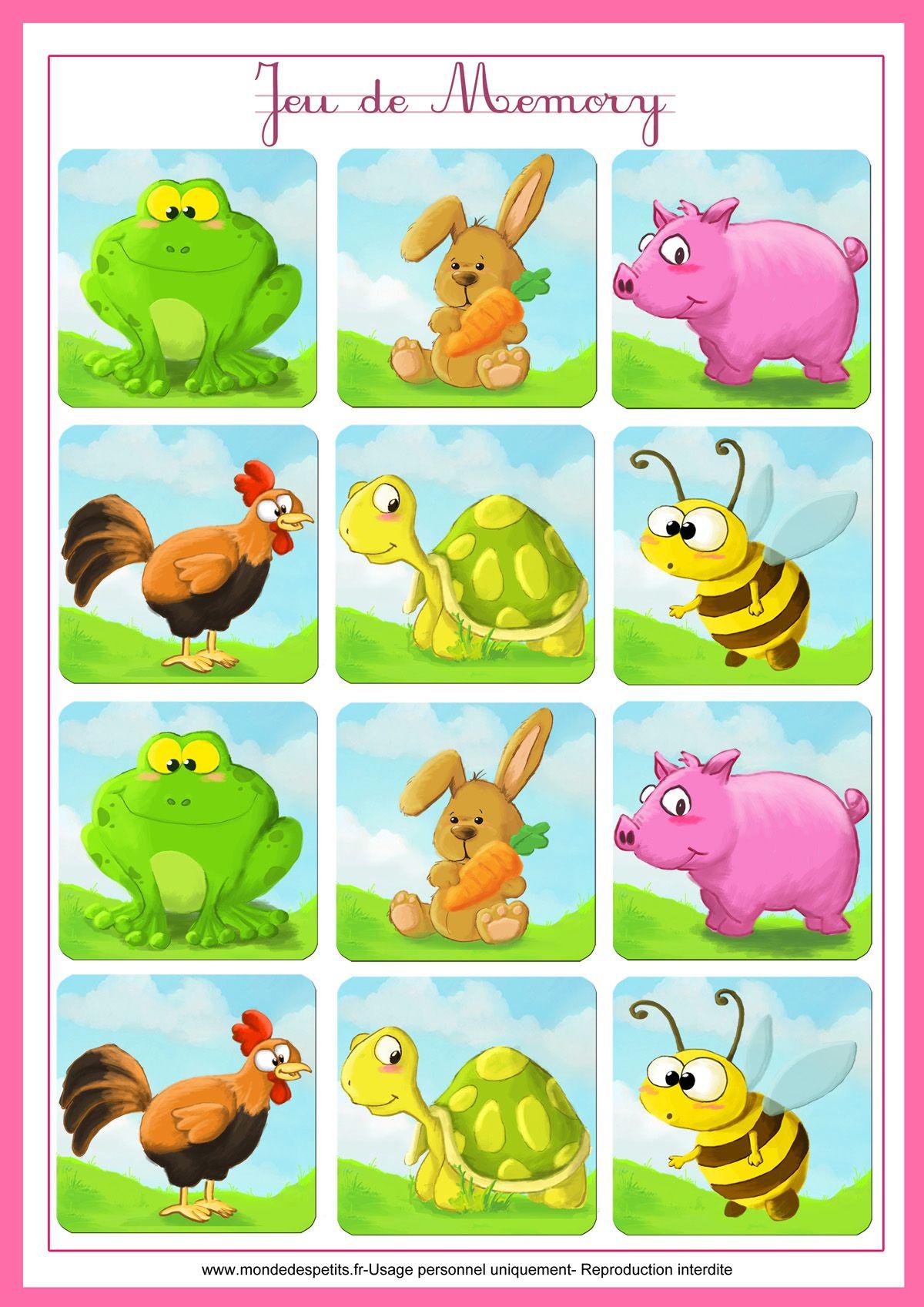 Jeu-Memory-Animaux-Imprimer 1 200×1 697 Пикс | Jeux De à Jeux Memoire Enfant