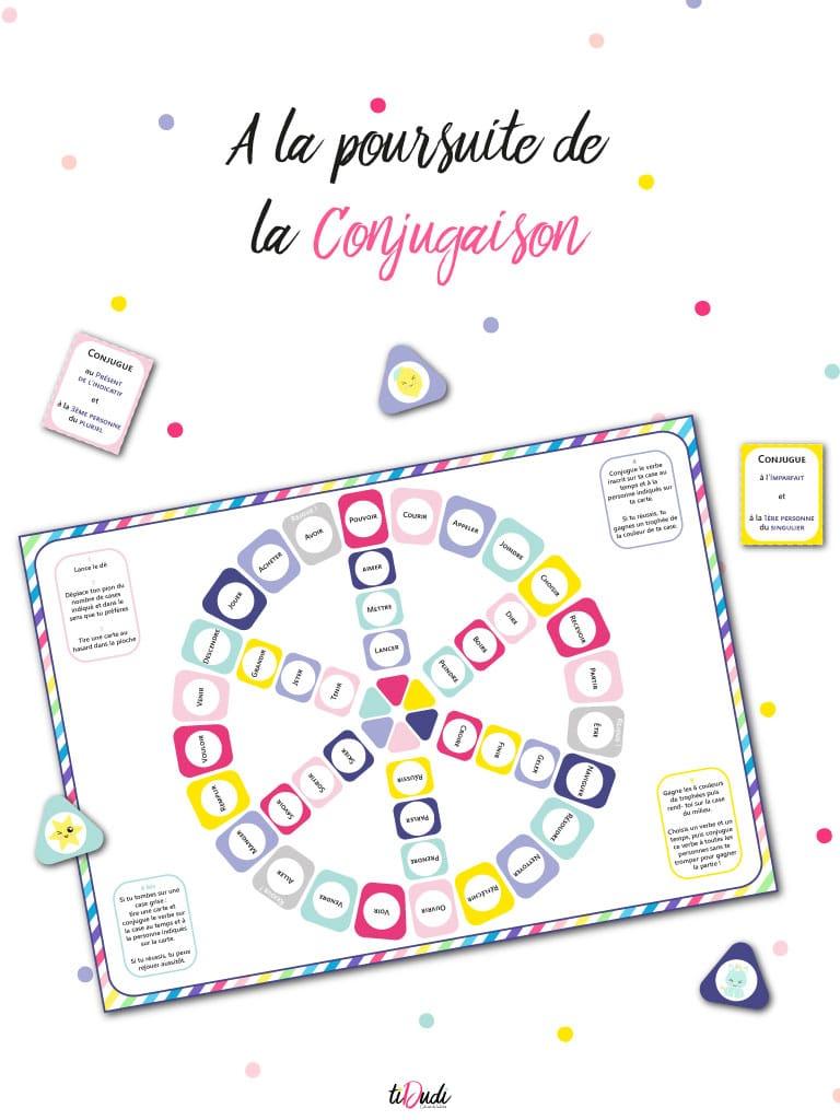 Jeu Pour Apprendre La Conjugaison - Kit Pédagogique - Tidudi à Jeux Ce2 À Imprimer