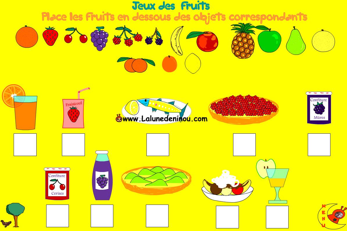 Jeu Pour Apprendre Le Nom Des Fruits - Lalunedeninou encequiconcerne Jeux Maternelle En Ligne