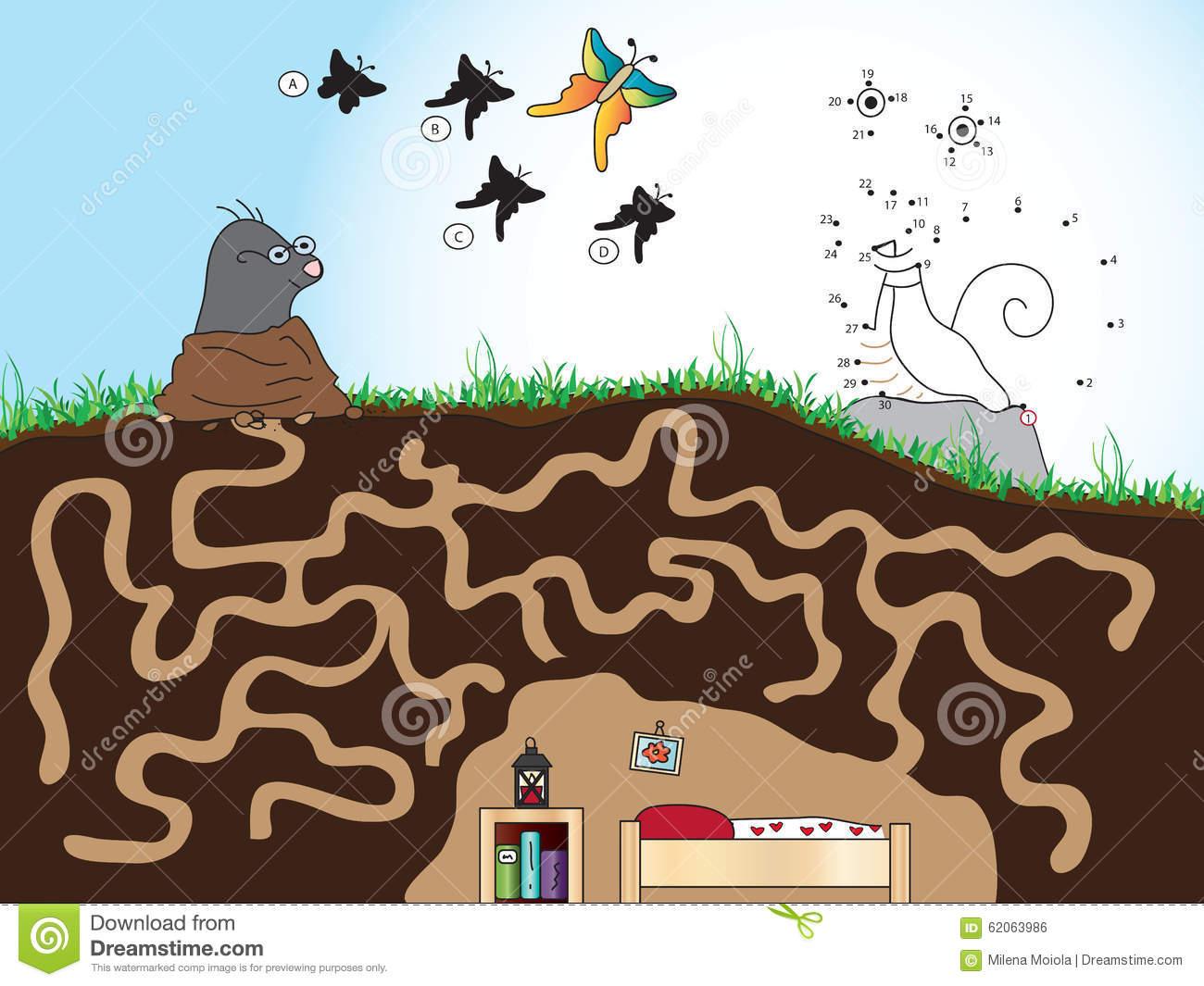 Jeu Pour Des Enfants Illustration Stock. Illustration Du avec Jeu De La Taupe