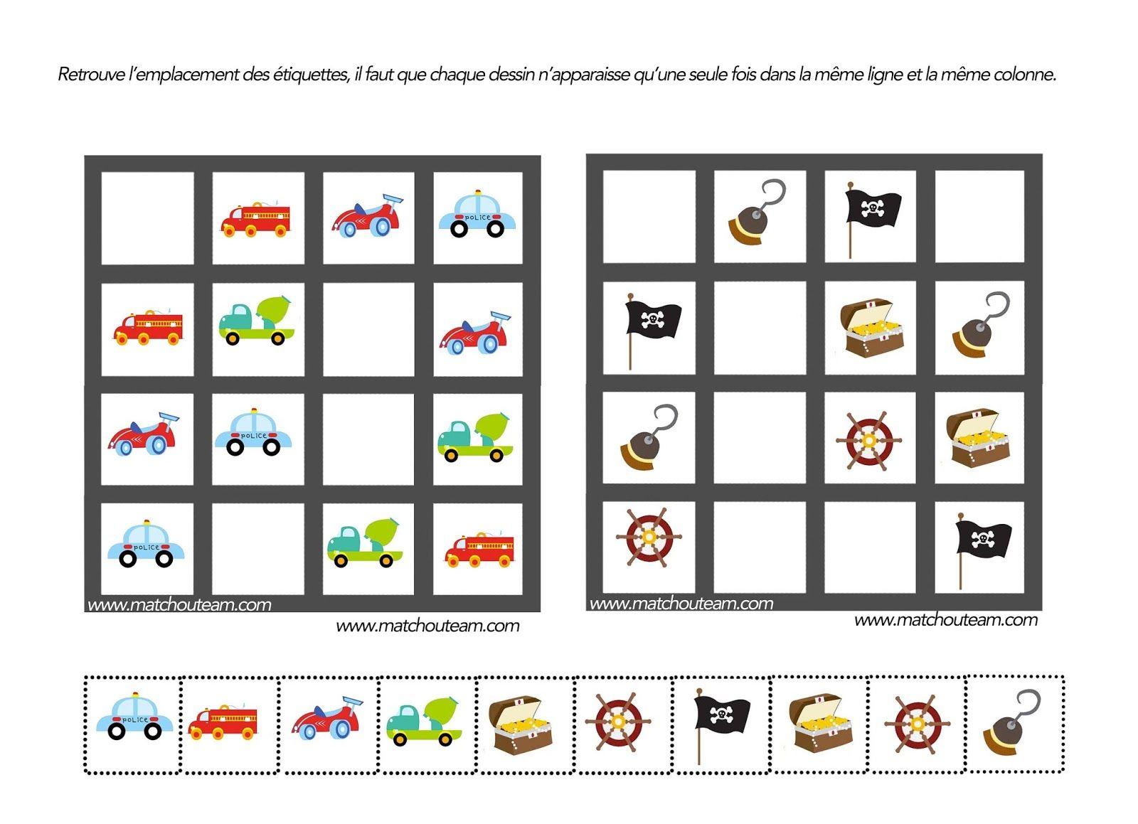 Jeu Pour Esprit Logique | Sudoku Enfant, Jeux De Logique Et à Sudoku Maternelle À Imprimer