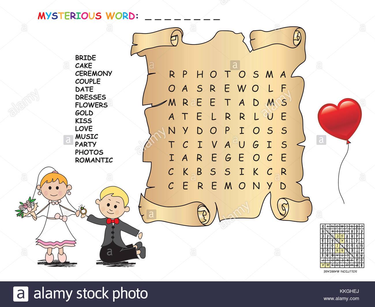Jeu Pour Les Enfants : Mariage Mots Croisés Banque D'images concernant Mots Croises Enfants